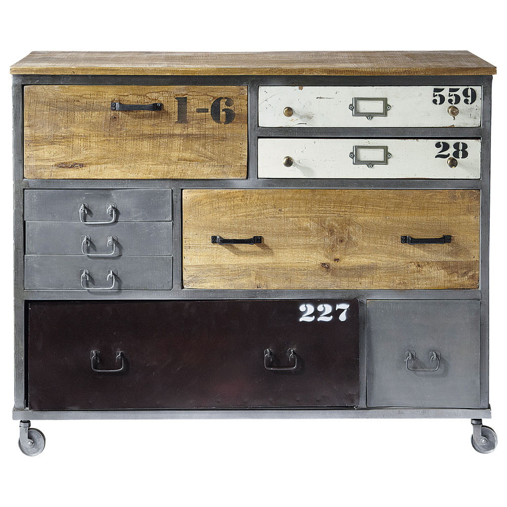 Kommode Industriedesign Metal Drawer Chest On Castors W 120cm | Kommode, Mangoholz, Industrie-möbel