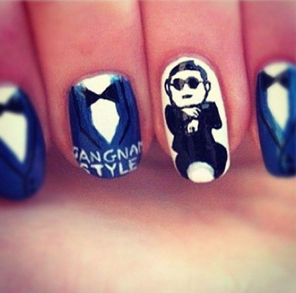 Gangnam style nails funny art nail polish manicure idea creative beauty - Gangnam Style! Gangnam Style! Pinterest Creative, Creative