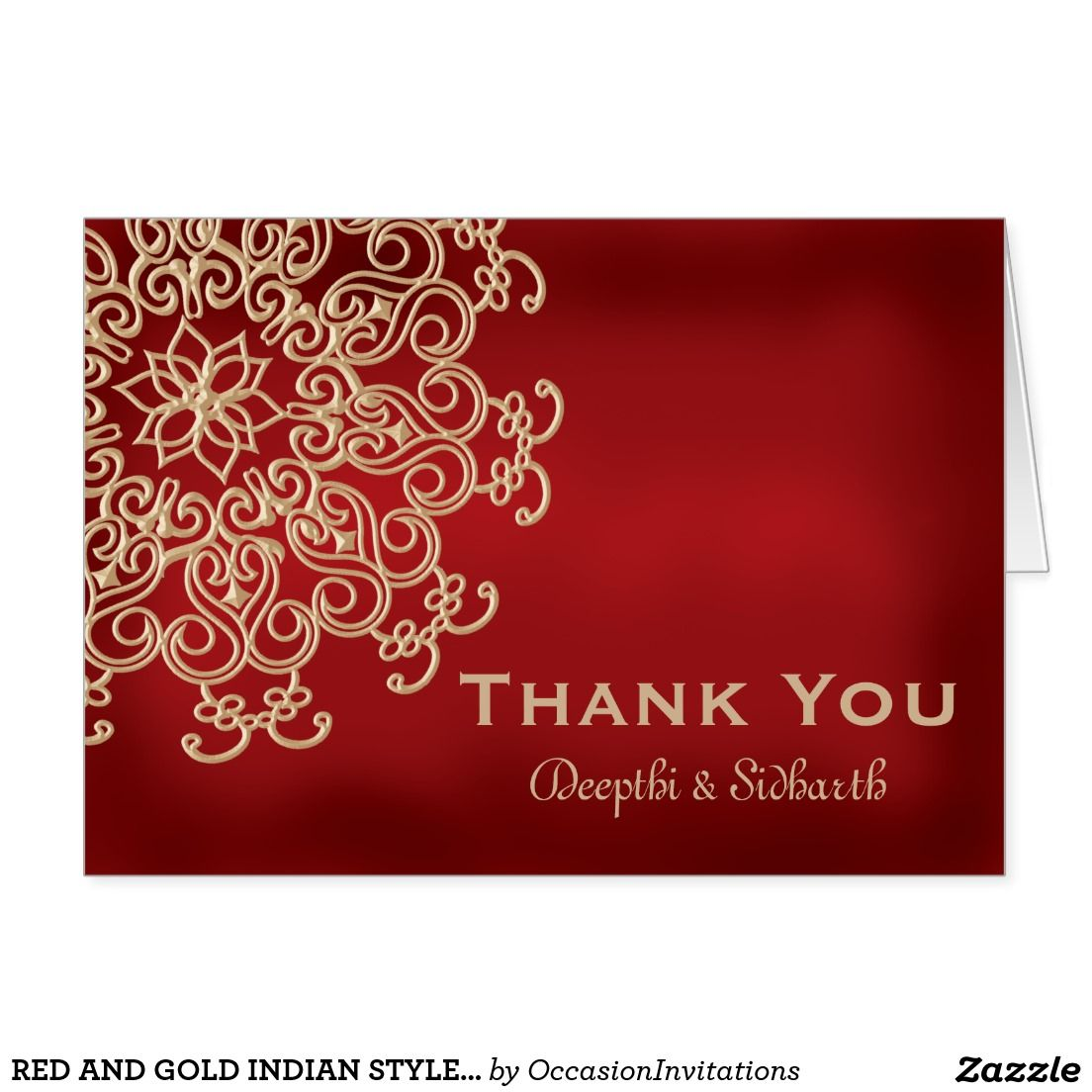 RED AND GOLD INDIAN STYLE WEDDING THANK YOU CARD | Convite ...