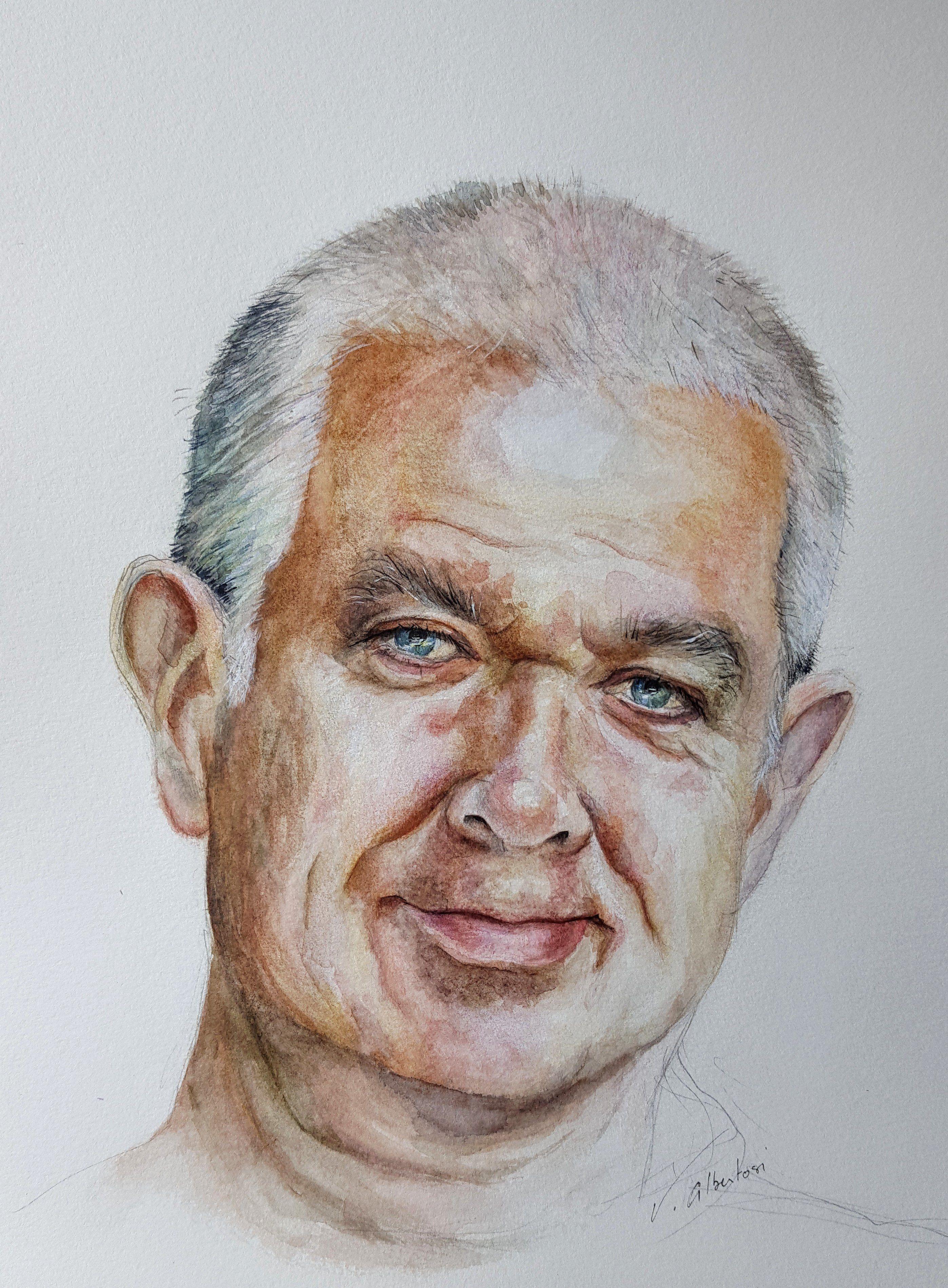 Portrait Aquarelle Homme Cours Particuliers Dessin Peinture Val D