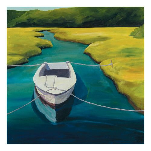 Found it at Wayfair - Boat in Cove by Catherine Breer Painting Print on Wrapped Canvas