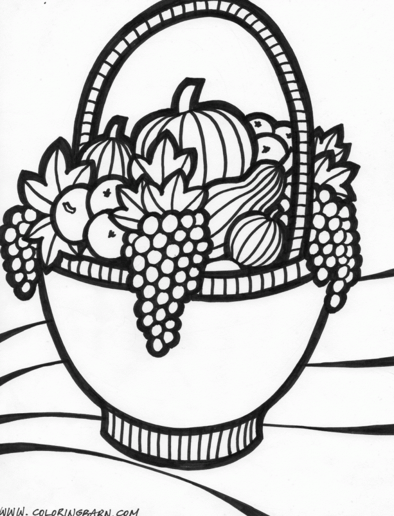 Thanksgiving basket coloring page | coloring pages | Pinterest