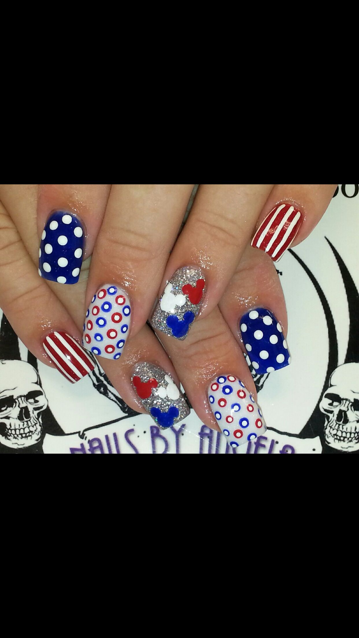 4th of July Mickey Mouse Nails! | Disneyland | Pinterest | Uña ...