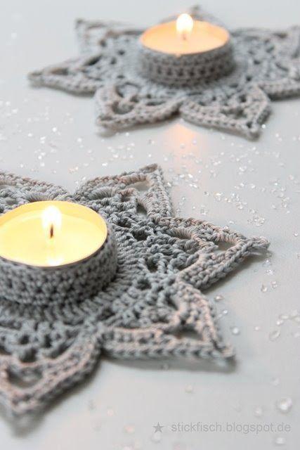 Gehäkelte Teelichthalter Stickfisch Christmas Winter Cards