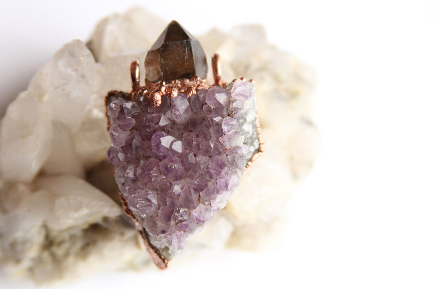 Amethyst Cluster and Smokey Quartz Point Copper Electroformed Pendant // Witchy Raw Crystal Necklace // Smoky Quartz Amethyst Druzy Necklace by CrystalVisionGems on Etsy https://www.etsy.com/listing/494075259/amethyst-cluster-and-smokey-quartz-point
