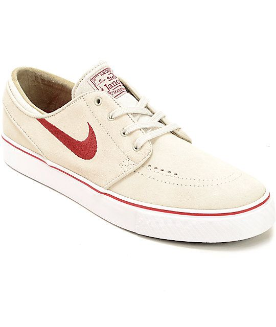 Nike SB Stefan Janoski Light Bone & Red Skate Shoes