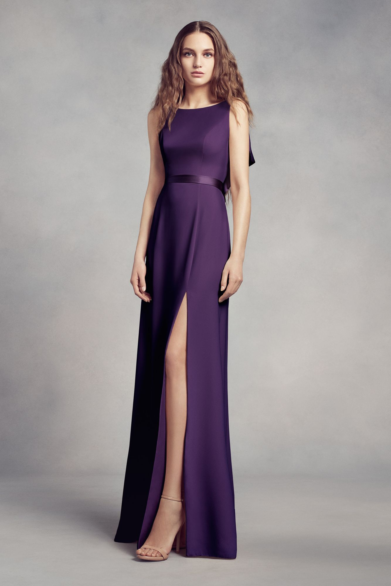 Unique ruffled back long vw360348 high neck bridesmaid dresses white by vera wang fall 2017 sleek boat neck bridesmaid gown ribbon belt skirt slit amethyst ombrellifo Image collections