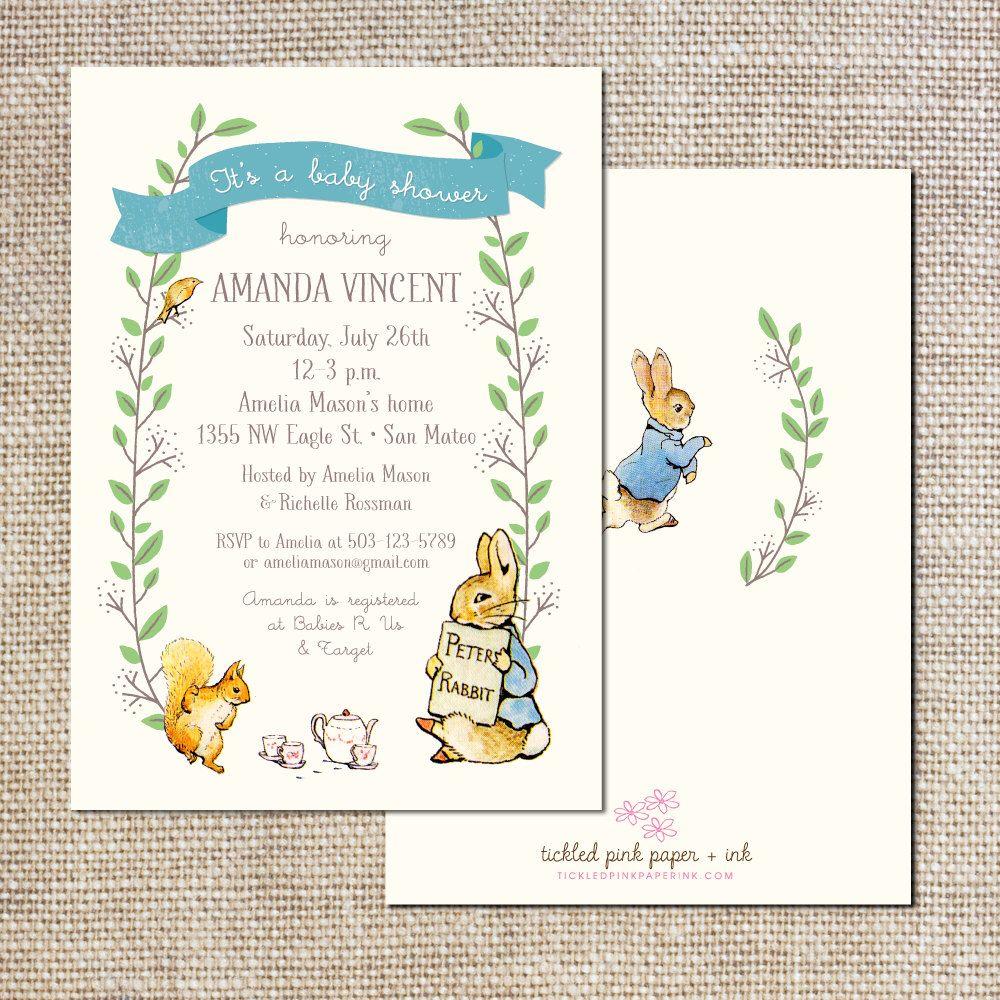 Peter Rabbit Baby Shower Invitation By Tickledpinkpaperie On Etsy  Https://www.etsy.com/listing/201622383/peter Rabbit Baby Shower Invitation