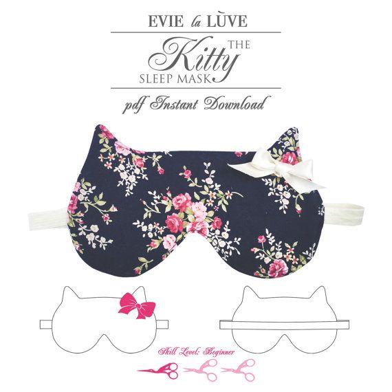 DIGITAL Sewing Pattern Kitty Sleep Mask PDF by EvielaLuveDIY   hot ...