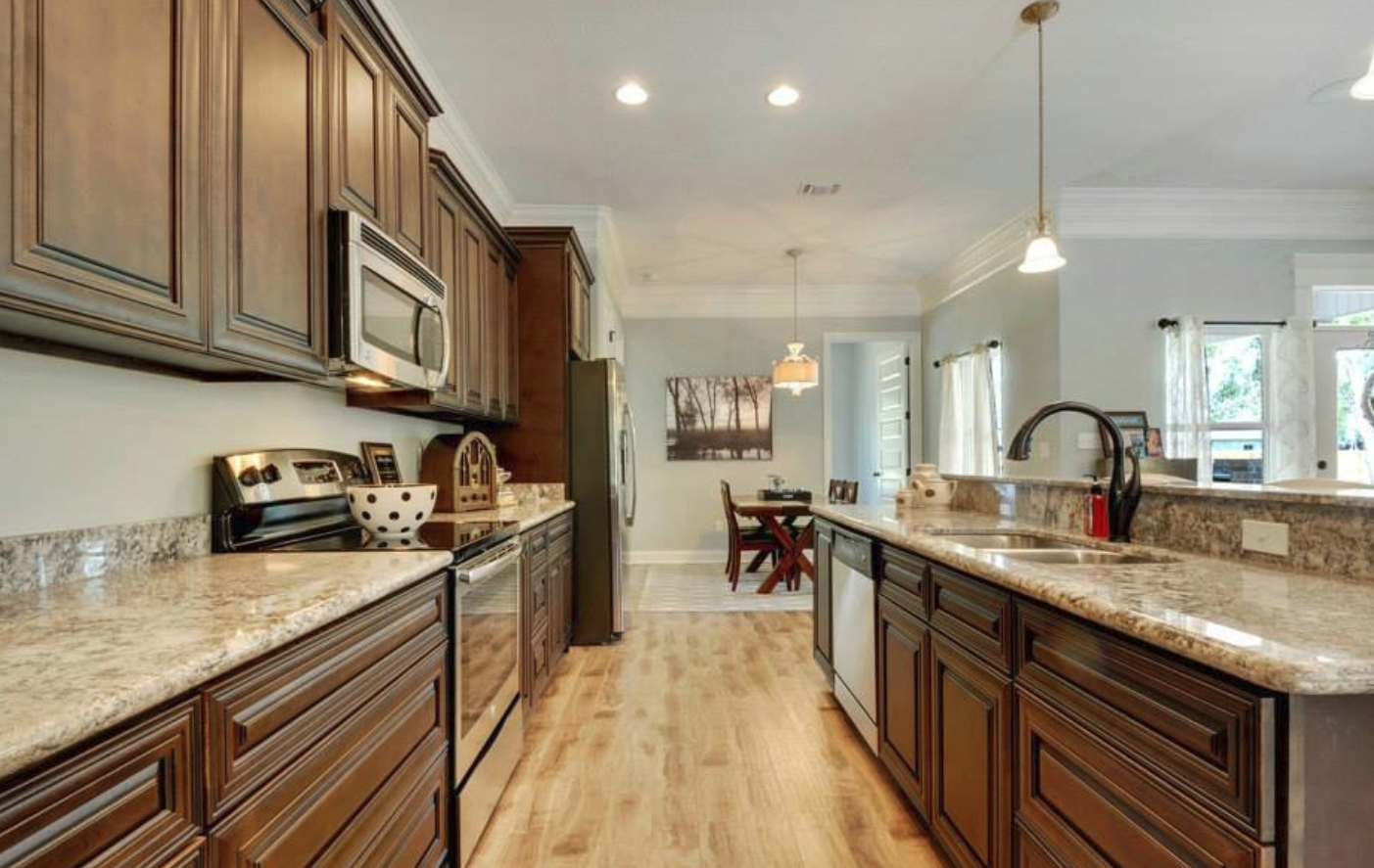 Proselect Hw Hamilton Walnut All Wood Stained Cabinets With Kalahari Gold Granite Countertop How To Remove Kitchen Cabinets Kitchen Kitchen Cabinets