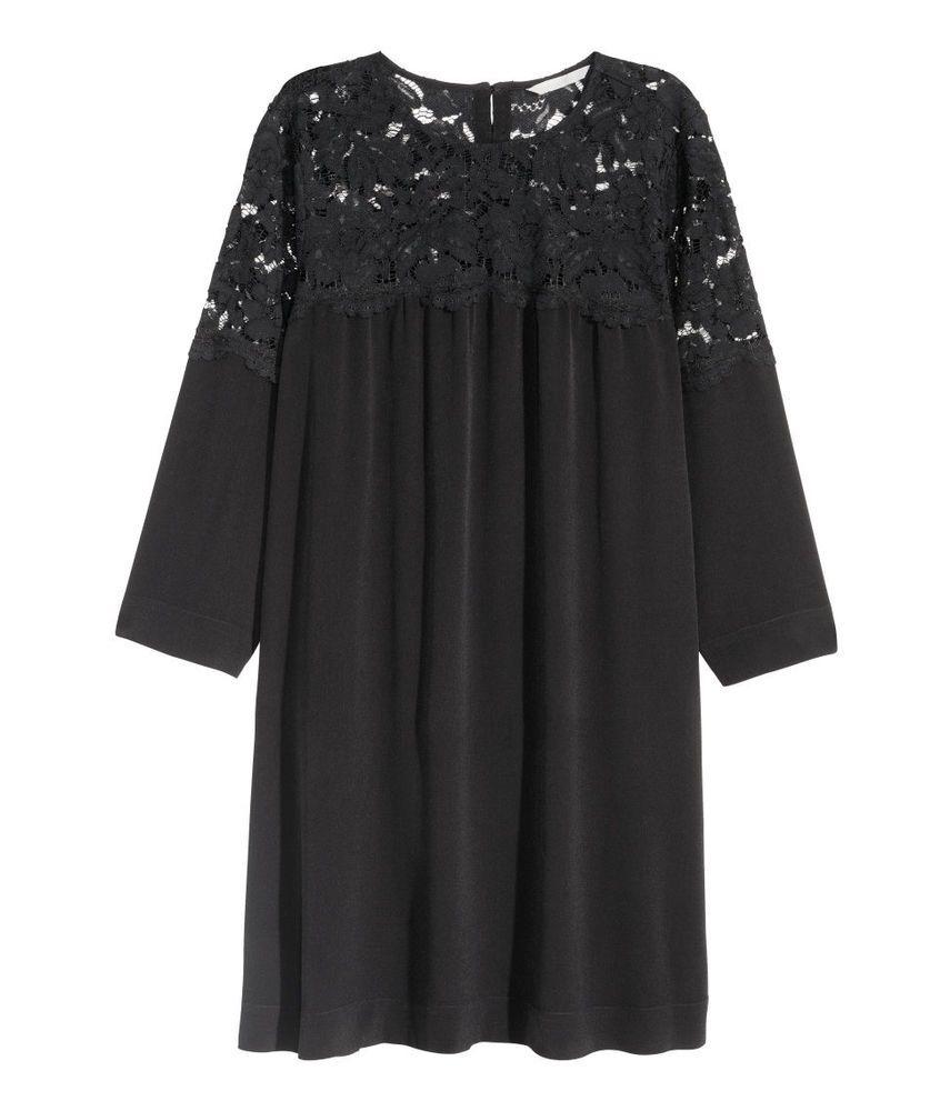 Damen H&M Kleid mit Spitze festlich elegant Bürokleid ...