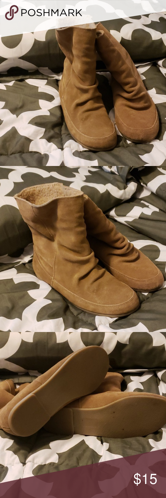 Suede ankle booties Like new ankle booties. I wore them a couple of times. Very cute with skinny jeans and comfortable. Nine West Shoes Ankle Boots & Booties #skinnyjeansandankleboots