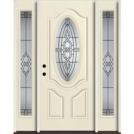 Reliabilt Calista Oval Lite Decorative Glass Right Hand Inswing Bisque Paint Painted Fiberglass Prehung Entry Reliabilt Entry Door With Sidelights Entry Doors