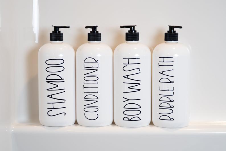 32 oz Shampoo Bottles with Label Modern Bathroom Decor Salon   Etsy