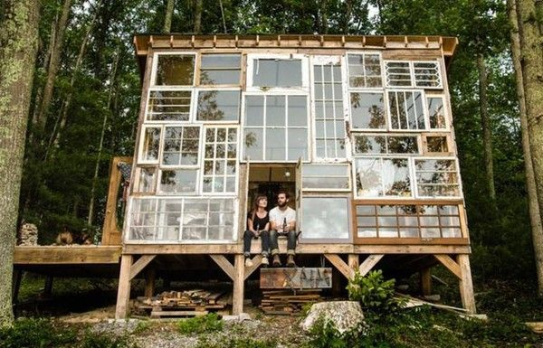 This Artist Couple Built An Incredible Cabin Out Of Recycled Windows For Under $500