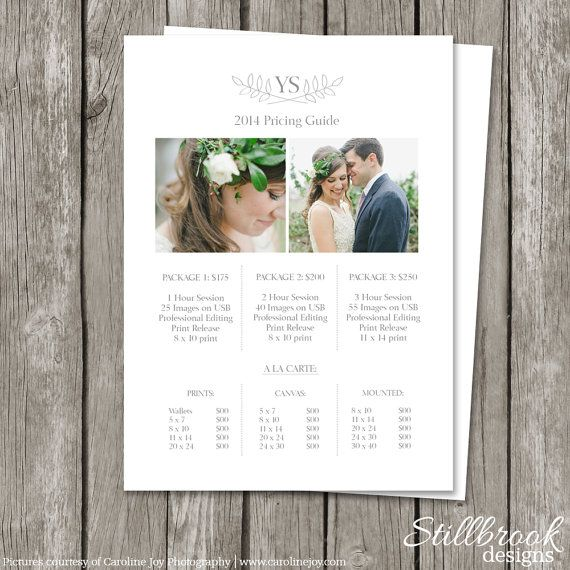 Photography Pricing Sheet Template Price List Guide Wedding Photographer Photo Print Investment Collections Pg01