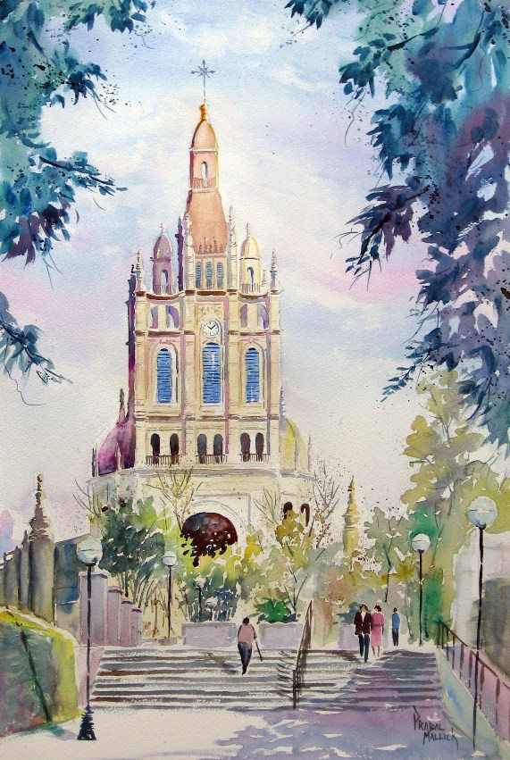 Basilica De Begona Bilbao Spain Watercolour By Prabal Mallick
