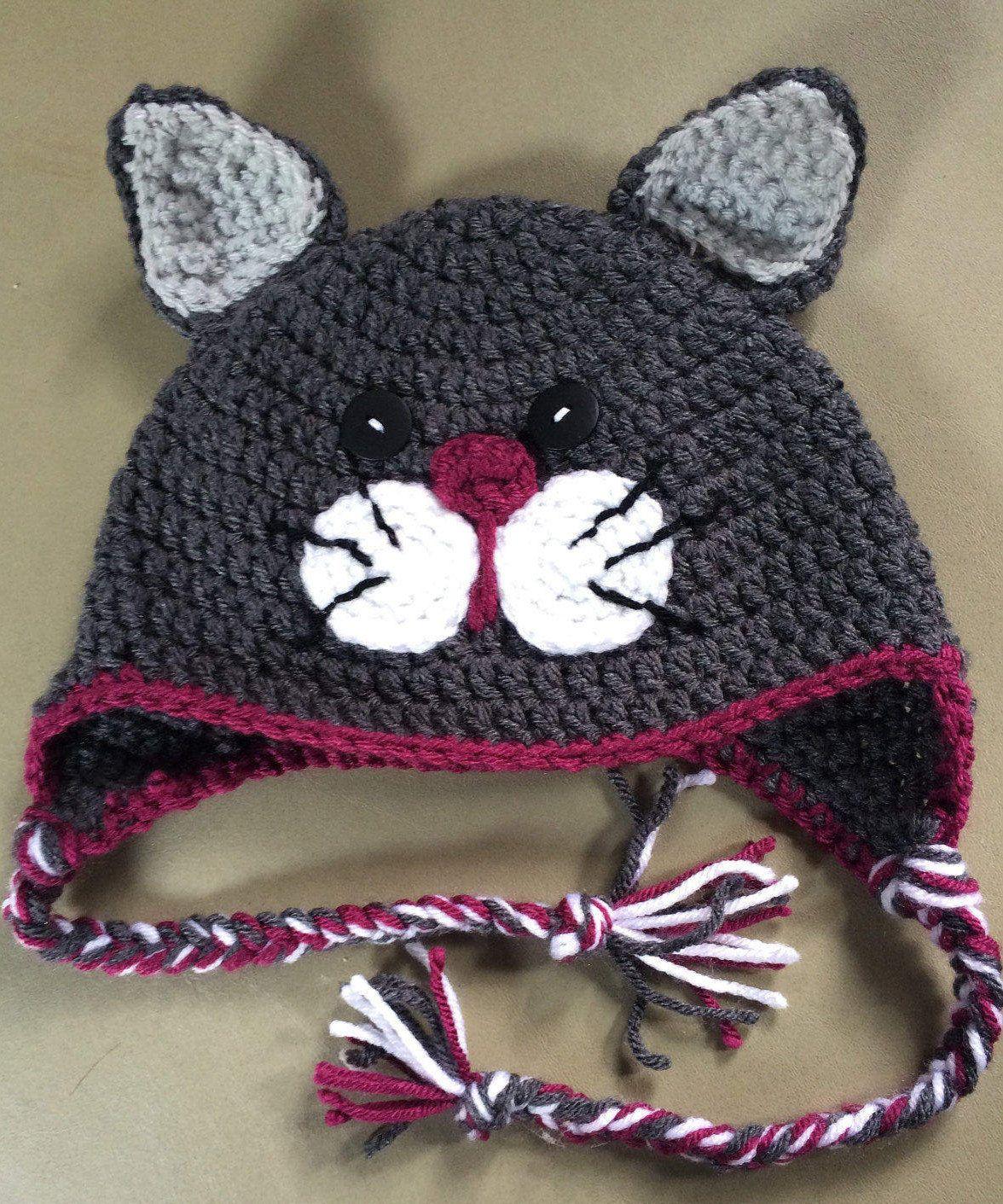 Crochet Cat Hat Child Hat Cat Hat Grey Crochet Hat Winter Hat Child Scrochet Hat Whimsey Cat Hat Winter Ear Flap Hat Character Hat Crochet Cat Hat Cat Hat Pattern Crochet Hats