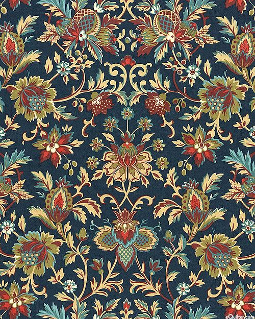 Canterbury Jacobean Vine Midnight Blue Textile