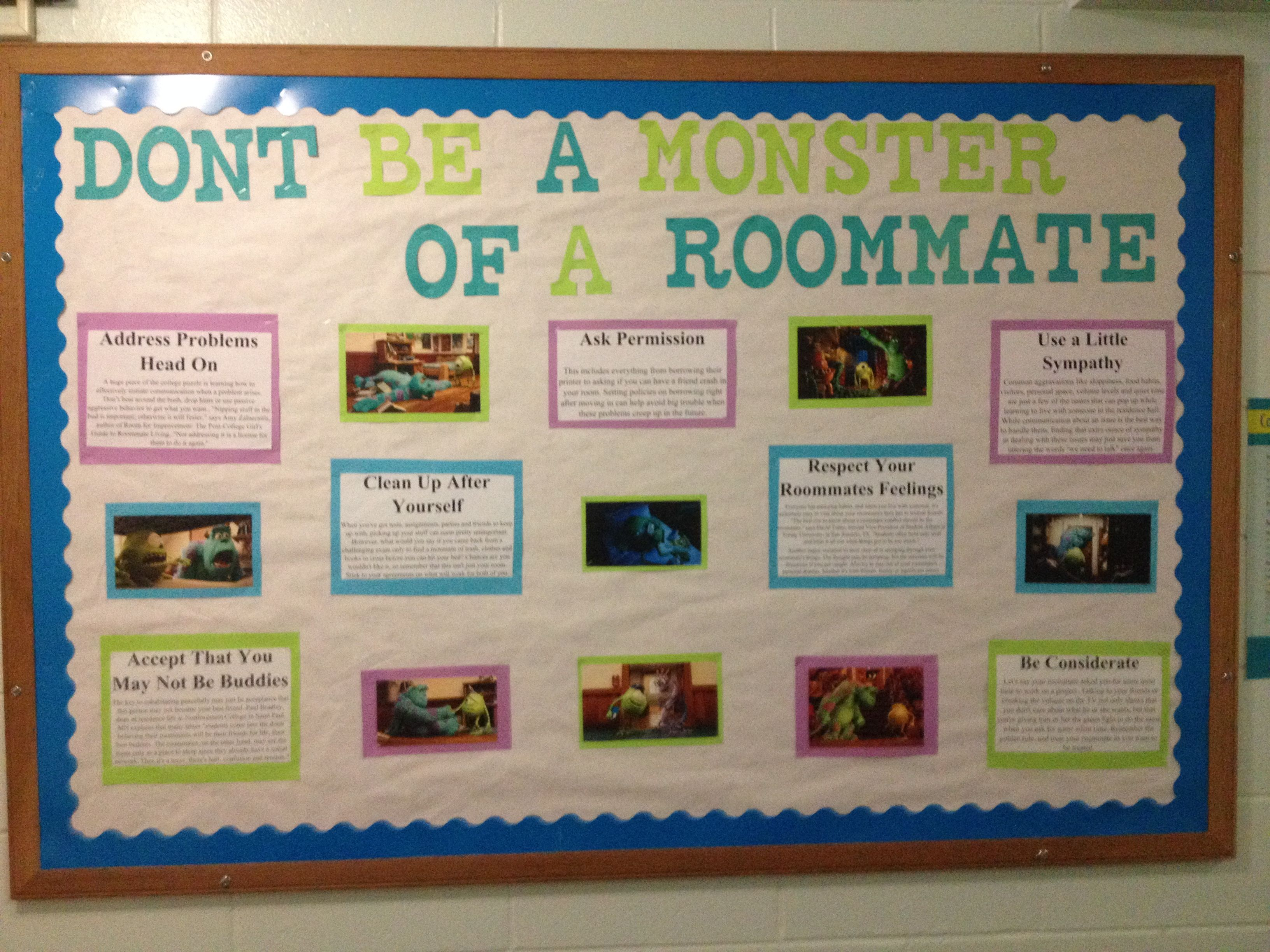 Monster University themed about how to be a good roommate