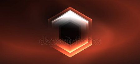 Neon color hexagon shapes lines on black background Modern template for web ba