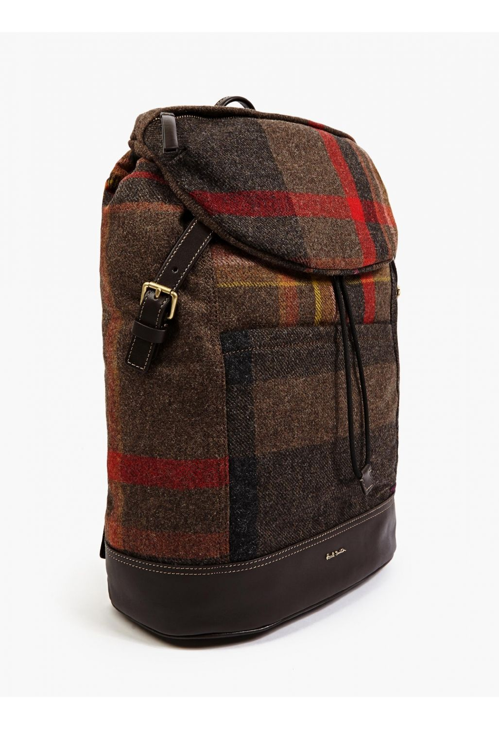 Paul Smith Men s Checked Wool and Leather Backpack  e00958e1992d4