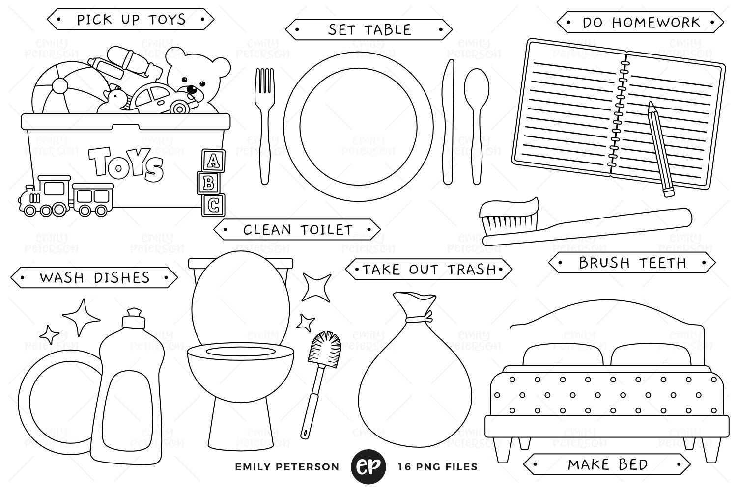 Kids Chores Digital Stamps Ad Quality Png Saved High Ad