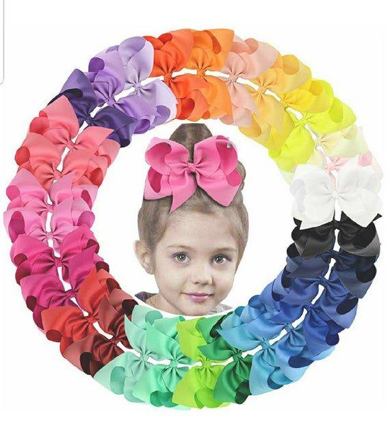 15 Pcs Hair Bows Girls Ribbon Lot 6 Inch Large Alligator Clips Mix Colors Set