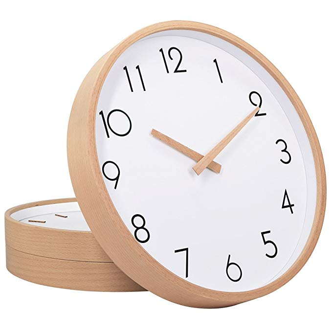 Amazon Com Txl Wall Clock Wood 12 Silent Large Wood Wall Clocks Digital Wall Clock Non Ticking For Night Table Wood Wall Clock Wall Clock Digital Wall Clock