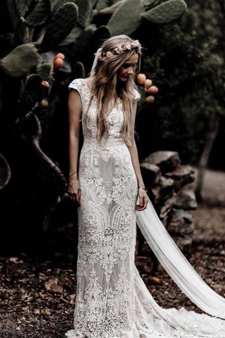 Vintage Spitze V-Ausschnitt Mantel Cap Sleeve Brautkleid € 270.38 SAPA996B56 #bohoweddingdress
