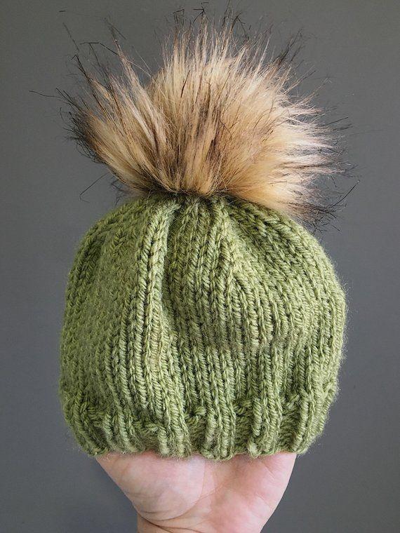 Newborn Luxe Rib Brim Beanie    Dusty Green    Knit Baby Hat 11d4a15bb2e5