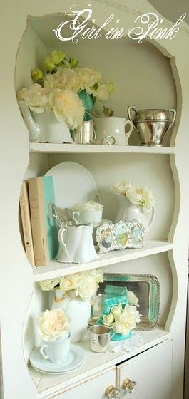 I would LOVE to find an old corner hutch like this.