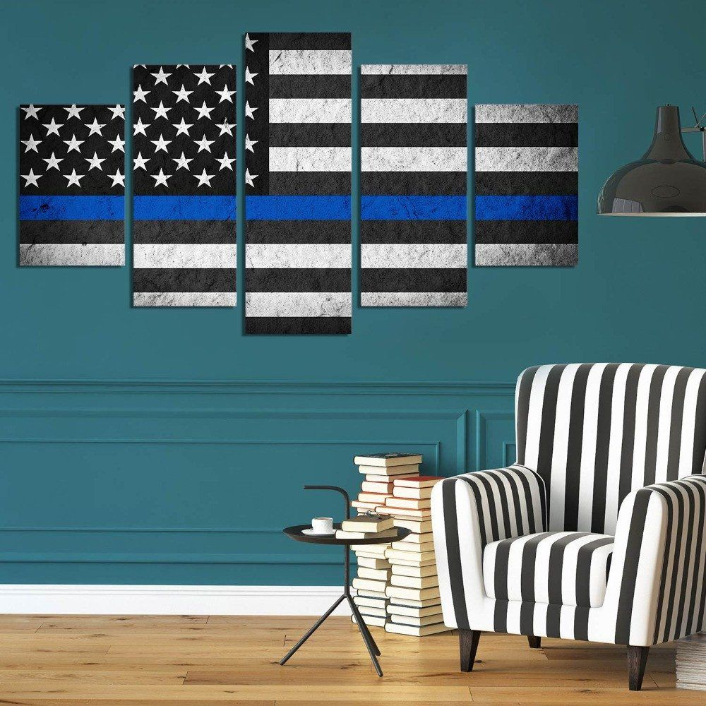 Thin Blue Line On Black And White Usa Flag Canvas Wall Art Panel Wall Art Home Decor Wall Canvas Living Room Art