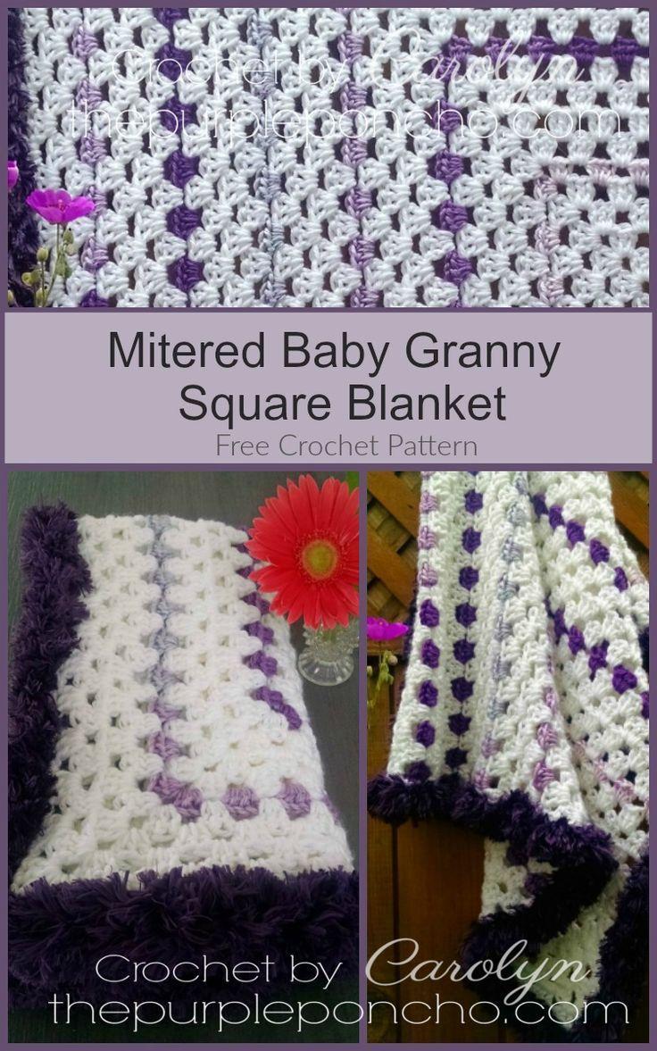 Mitered Baby Granny Square Blanket – Free Crochet Pattern ...