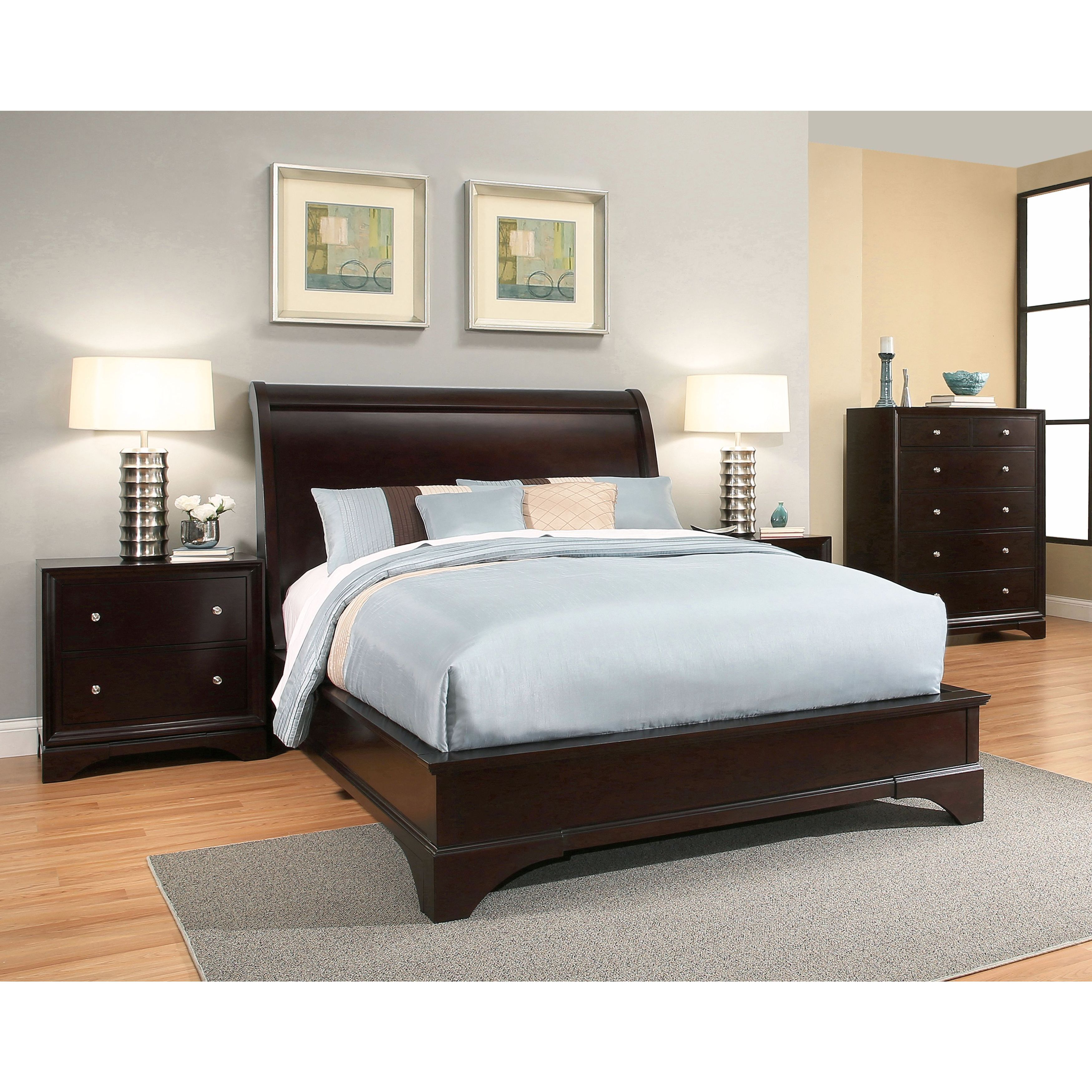 Abbyson Sydney Espresso Finish Wood Bed California King Brown