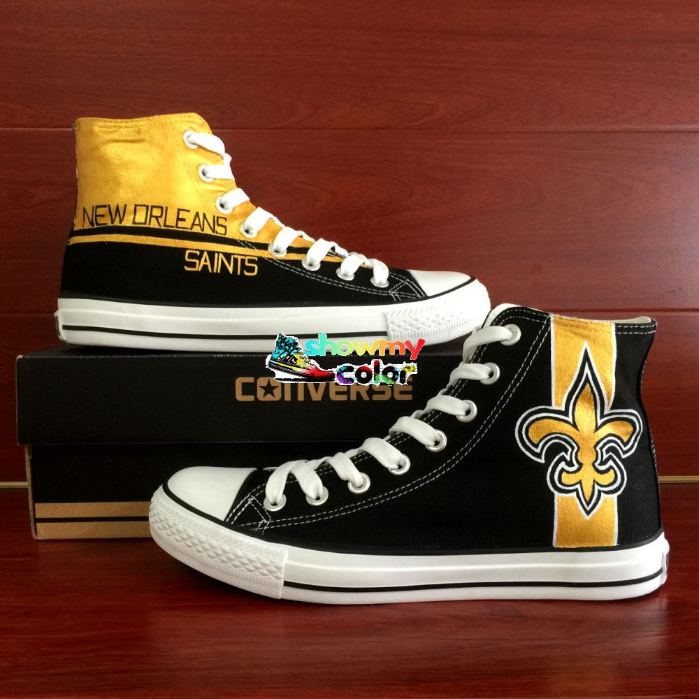 Nice nfl converse shoes black high top sneaker hand painted new nice nfl converse shoes black high top sneaker hand painted new orleans saints super bowl sneaker women men canvas shoes the size option is mens us sizeif geenschuldenfo Images
