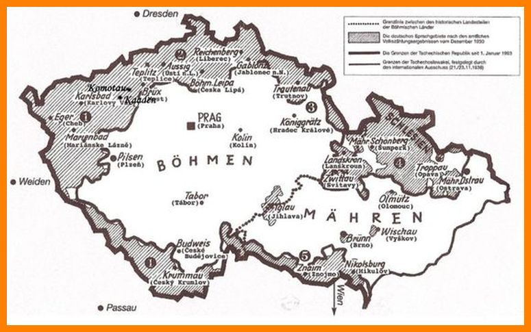 Sudetenland Bohmen Mahren Geschichte Landkarte Mahren