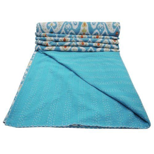 Home Décor Blue Quilt Kantha Stitched Queen Size Paisley Pattern Reversible Bedspread upstairs bedroom
