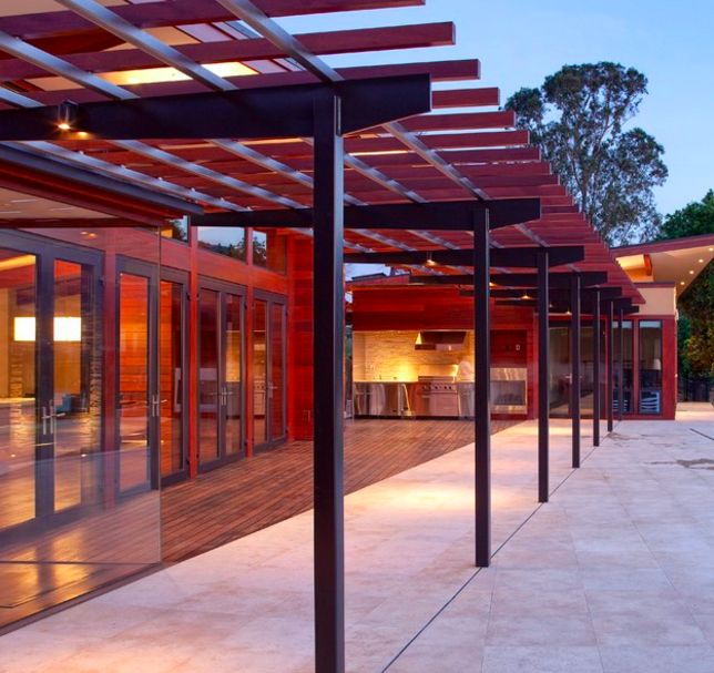 Like the post and beam look with wire instead of wood and for Steel and wood pergola