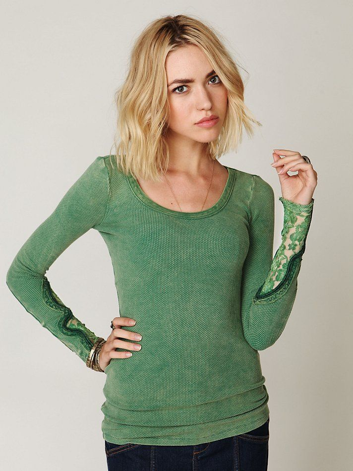 "~ Cool detailing! ~ I tend to buy my t's on the large size ~ it comes from having a Mom who'd always say ""you'll grow into it!"" ~ Now I know how I can lengthen sleeves when DH shrinks my stuff in the dryer! ~ from Free People Crafty Cuff Thermal, $68.00"