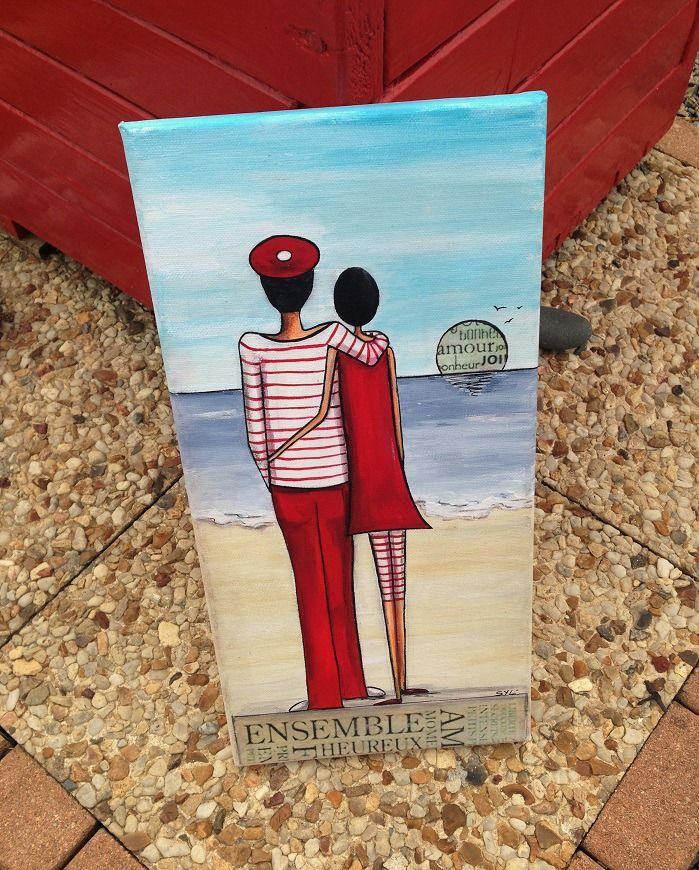 Les Amoureux Du Bord De Mer Peinture Acrylique Peinture