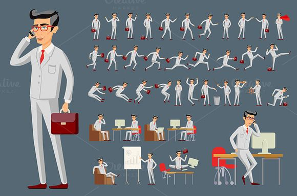 businessman in various poses vector by Rommeo79 on @creativemarket