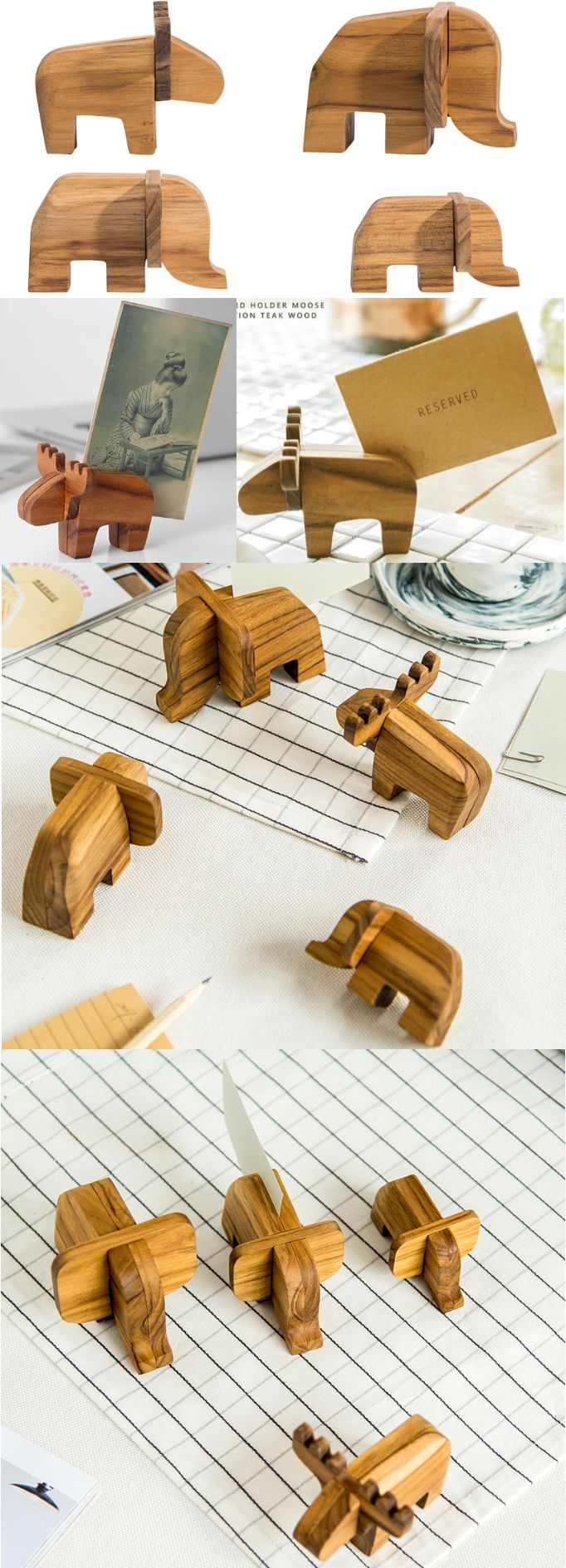 A Bamboo Wooden Animal Ornaments Place Card Holder Photo Card Holder ...