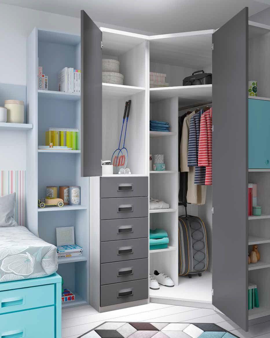 Dormitorios juveniles con cama nido compacta - Cama empotrada en armario ...