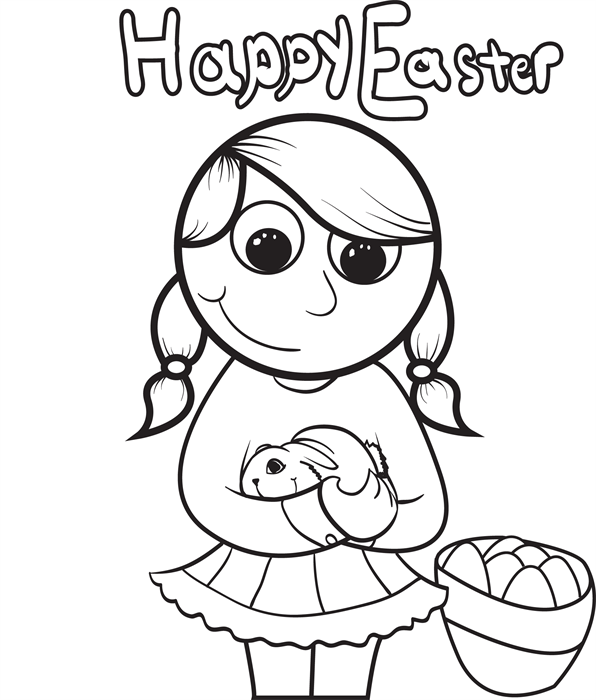 Girl Holding A Rabbit Easter Coloring Page Coloring Pages
