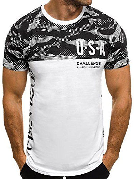 fc436de57f OZONEE Herren T-Shirt mit Motiv Kurzarm Rundhals Figurbetont J.STYLE SS125  WEIß M