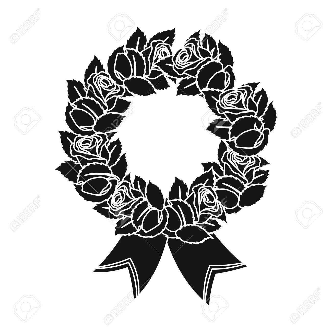 Funeral wreath icon in black style isolated on white