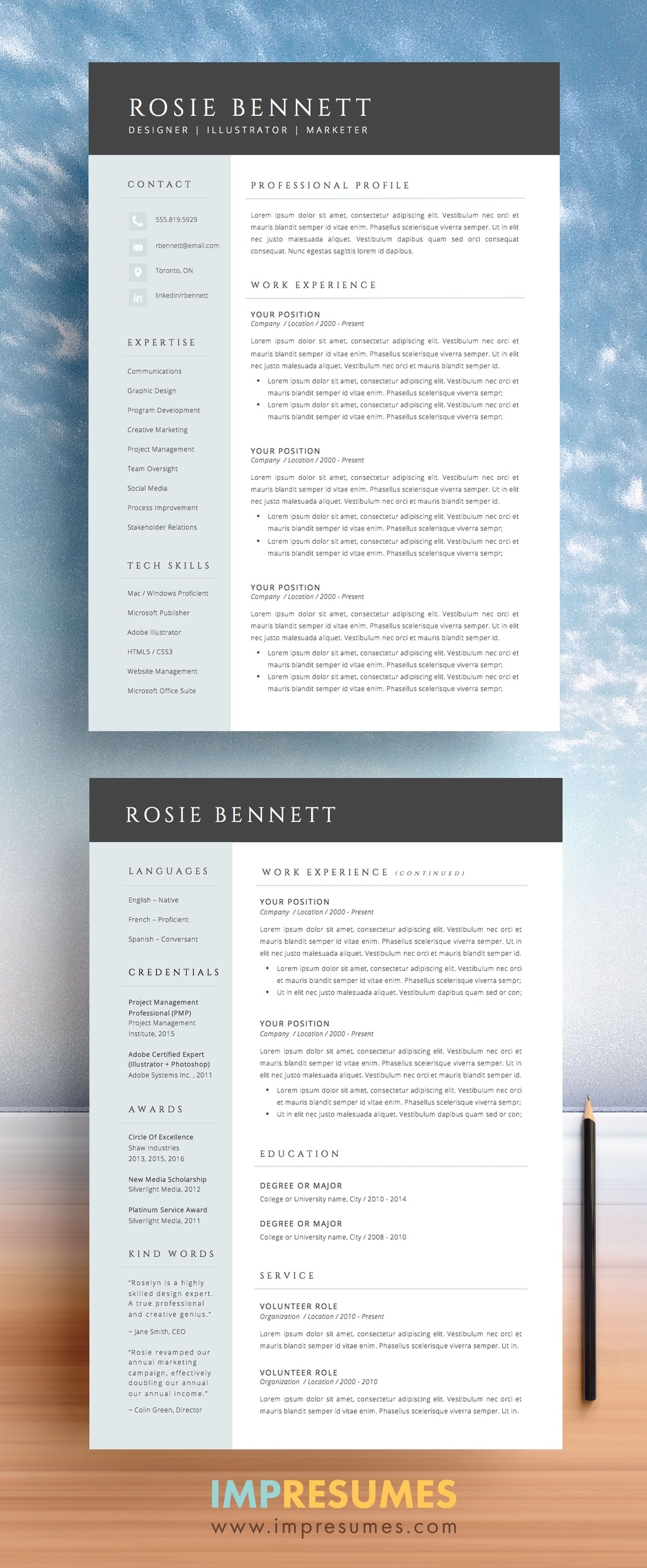 Professional 2page resume template and cover letter