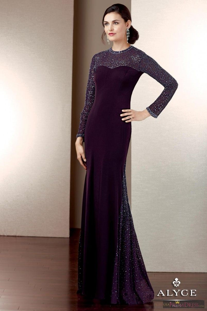 Alyce Paris Prom Dress 29572 - This matte jersey gown is perfect for the modest and conservative woman, featuring a beaded jewel neckline, long sleeve, keyhole back and a beaded godet.