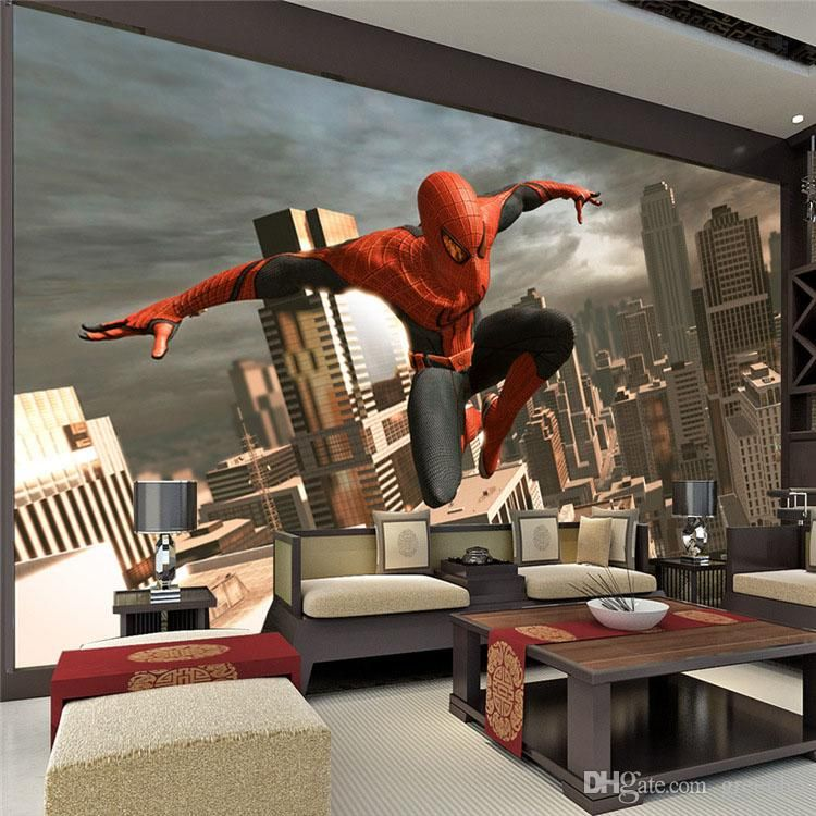Spiderman wall mural superhero photo wallpaper custom 3d for Images of 3d wallpaper for bedroom